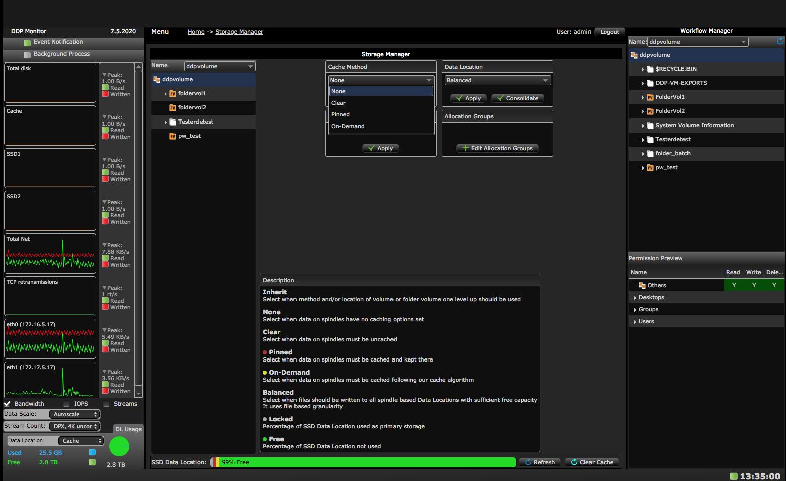 AVFS Storage Manager screen