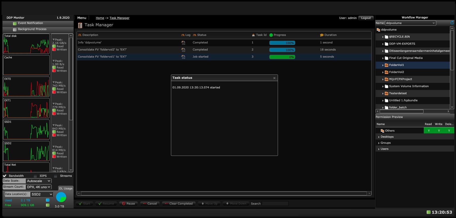 AVFS Task Manager screen