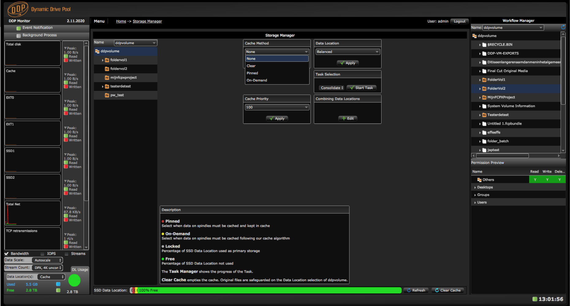The Cache Storage Manager screen